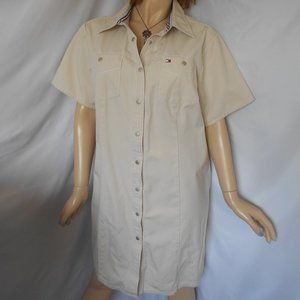 TOMMY HILFIGER Cream Full Snap Buttons Dress Sz 18